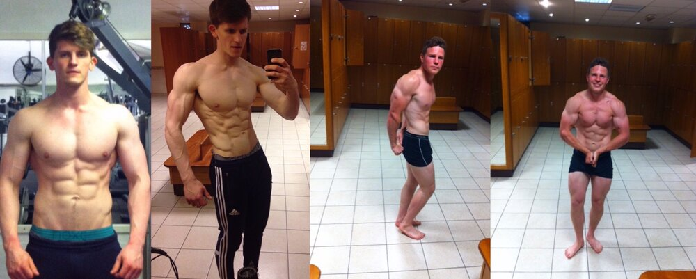 Rob's progress from lean bulk on left (89kg) to cut (85kg) and Ben's lean bulk progress (85kg). This was achieved through flexible dieting, and progressive overload training that hit body parts multiple times per week.